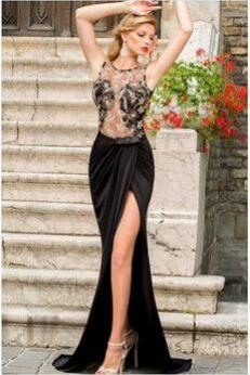 Sexy Black Lace Prom Dress, Two Pieces Long Evening Gown,Lace Evening dresses, Black Lace Prom Dresses, Black Party Dresses, Senior Prom Dress