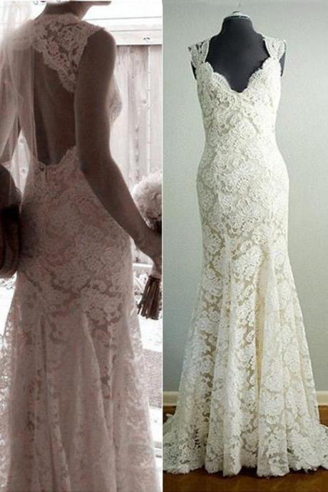 Mermaid Lace Wedding Dresses,Long Wedding Dresses,Wedding Dresses