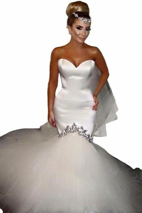 Sweetheart Crystals Mermaid Dress Wedding Women Bride 2016