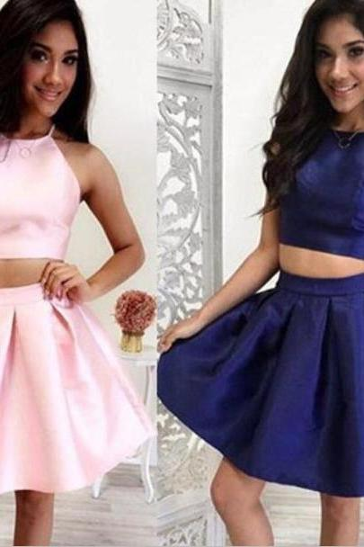 Halter Two piece pink homecoming dress,dark blue party dress,short party dress,sleeveless homecoming dress,graduation dress,short prom dress