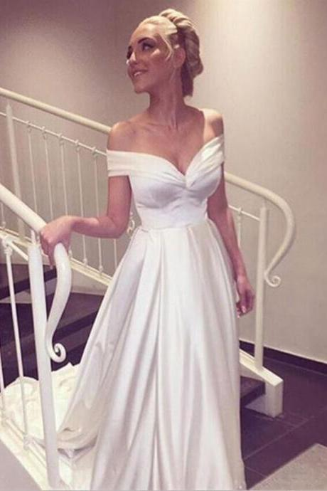 off the shoulder charming wedding dress,white dress,simple wedding dress,long train wedding dress,custom made wedding gowns