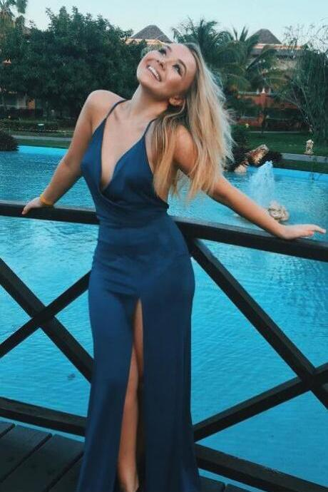 sexy prom dress,open back prom dress,deep v neck evening dress,mermaid prom dresses