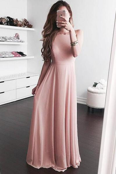 Blush Open Back Evening Dress,Prom Dress,Long Chiffon Evening Dress,Maxi Dresses,Simple Evening Dresses