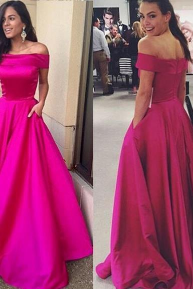 Charming A-Line Off-the-Shoulder Sweep Fuchsia Stain Prom Dress
