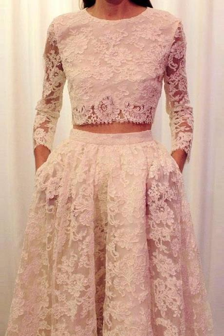 Fashionable 2016 2 Piece Prom Dresses Long Sleeve Lace White Prom Gowns vestidos de noche