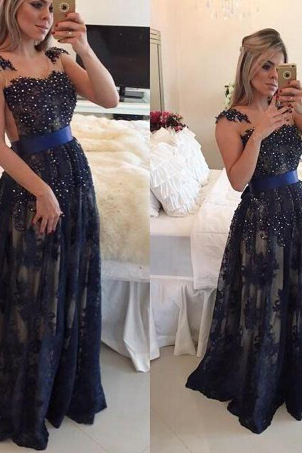 Dark Navy Blue Beaded Long Prom Dresses 2016 Lace Floor Length A-line Evening Gowns