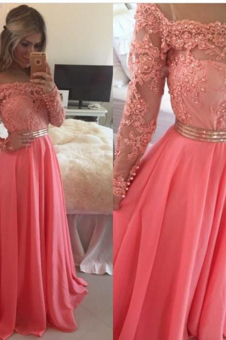New Lace Chiffon Evening Gowns Sheer Illusion Long Sleeves Beaded Prom Dresses
