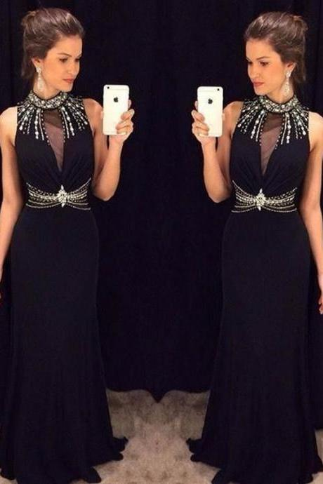 New Design Black Long Prom Dresses High Neck With Beads Mermaid Prom Gown 2016 vestidos de noche
