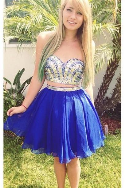 Two Pieces Beading Homecoming Dresses, Short/Mini Graduation Dresses,Sweetheart Charming Homecoming Dresses,Homecoming Dress, Chiffon Homecoming Dress On Sale
