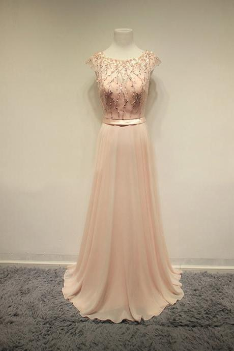 Bluch Pink Long Cap Sleeves Prom Dresses,Evening Dresses,Party Gowns,Beading Prom Gowns