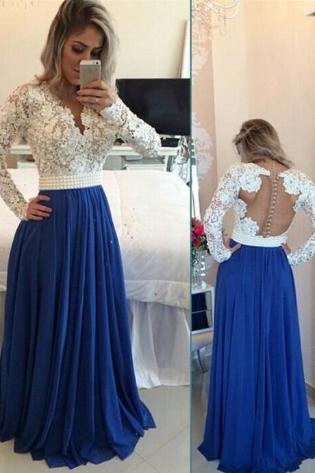 Modest Handmade Long Chiffon Royal Blue Beading Prom Dresses,Sparkly Long Sleeves Prom Dress, Prom Gowns
