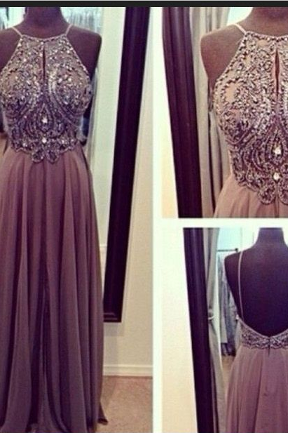 Beaded Embellished Halter Neck Floor Length Chiffon A-Line Prom Dress Featuring Open Back, Evening Dress