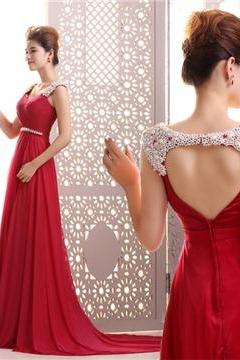 A-Line Straps Pearls Beading Floor-Length Backless Court Train Evening Dress2016