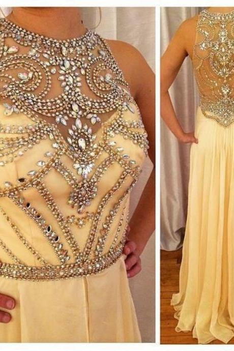Charming Beading Yellow Chiffon Prom Dress, Long Prom Dress, Beading Prom Dress, Senior Prom Dresses, Graduation Dresses, Prom Dress for Teens