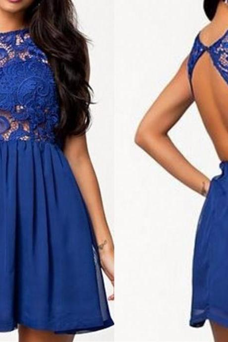 Royal Blue Prom Dress,Lace Prom Dress,Backless Prom Dress,Fashion Homecoming Dress,Sexy Party Dress, New Style Evening Dress