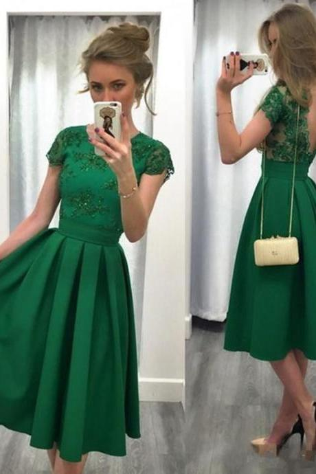 Evening Party Dresses, A-line Cap Sleeve Lace Party Dress in Green Prom Evening Dress