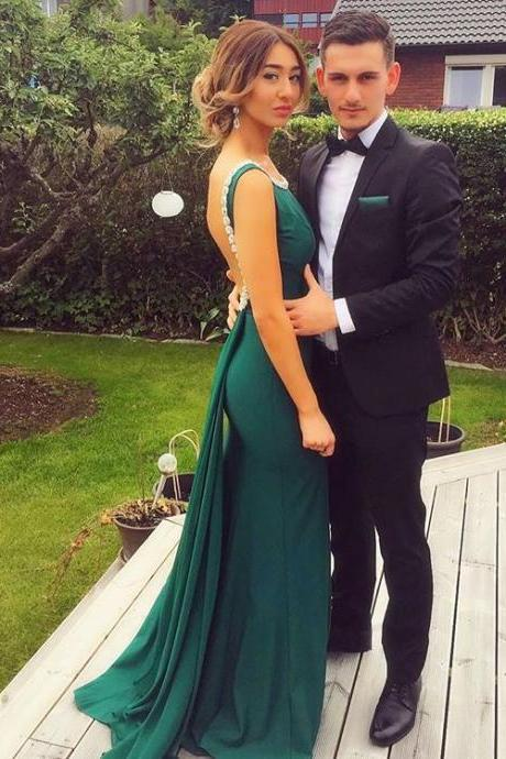 Prom Dresses,Sexy Scoop Prom Dresses Sheath Elegant Green Peals Backless Evening Dress