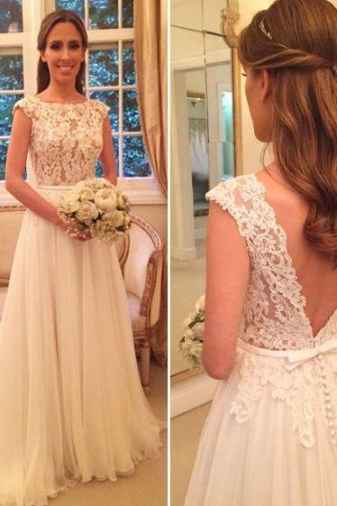 Bateau Lace Appliqués A-line Wedding Dress Featuring V-Back