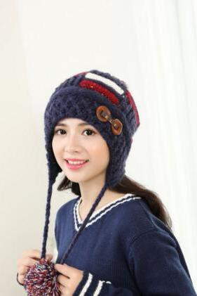 Winter new double - ball cap warm hat 2016 Korean thickening double - breasted women 's wool knit hat