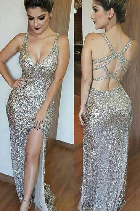 Deep V-Neck Open Back Split Floor Length Beading Prom Dress, Silver Sequins Prom Dresses, Sexy Backless Prom Dress