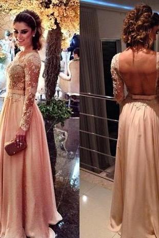 Blush Pink Backless Vintage Long Sleeves Lace Prom Dresses