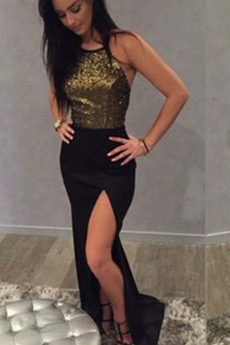 Black Halter Prom Dress, Side Slit Prom Gown,Backless Gown With Gold Sequin