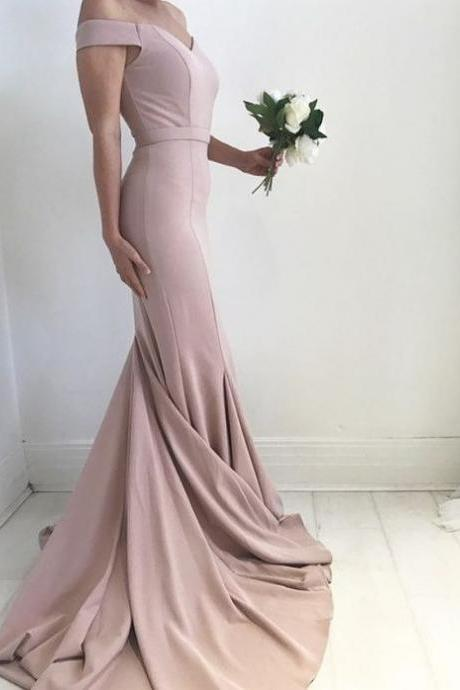 Sexy Off the Shoulder Prom Dress, Mermaid Prom Gowns, Charming Satin Prom Dress, Prom Dress with Sweep Train, Formal Dresses