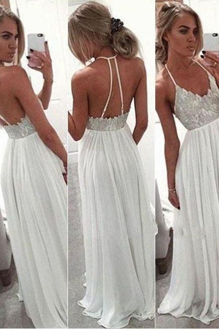 White Chiffon Sequin Long Prom Dress for Teens, Backless Long Prom Dress