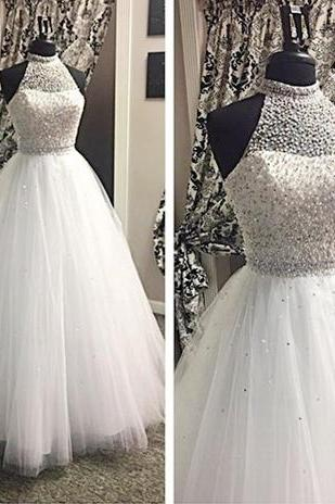 Halter Beaded Ballgown Wedding Dress