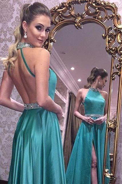 2017 Prom Dress, Sexy Prom Dresses, Green Backless Prom Gown, Long Party Dress, Sexy Side Split Prom Dress, Open Back Evening Dress, Woman Dresses