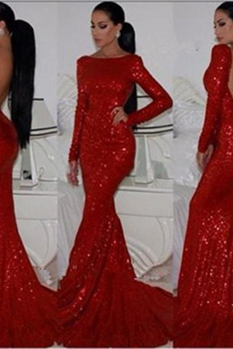 New Fashion Sparkly High Neck Sequined Mermaid Red Prom Dresses Long Sleeves Sexy Long Formal Evening Gown