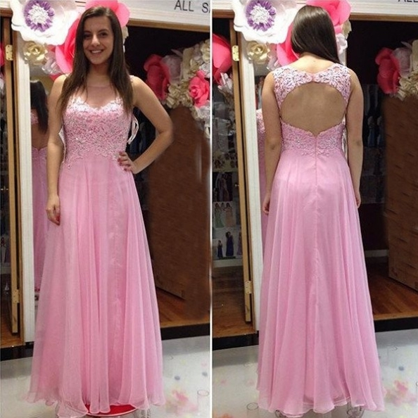 Beading Appliques Backless Chiffon Pink Prom Dresses