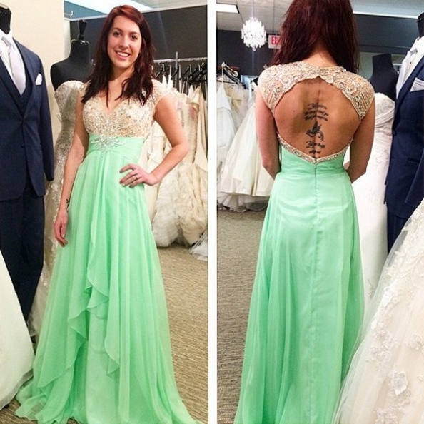 V-Neck Capped Sleeves A-line Chiffon Sage Green Prom Dresses