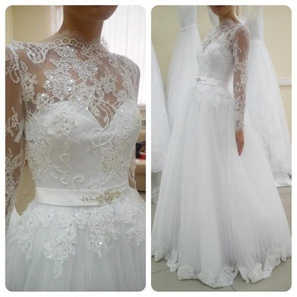 Wedding Dresses,Sexy Long Sleeve Wedding Dress Ball Gown, High Neck Wedding Dresses ,Wedding Gowns,High Quality Bridal Dresses,Wedding Guest Prom Gowns, Formal Occasion Dresses