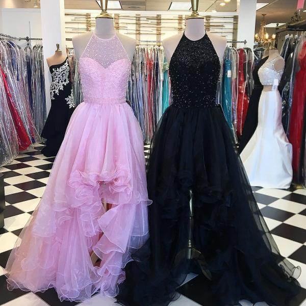 Long Evening Dress,Sexy High Low Tulle Prom Dress, Halter Backless Evening Dress