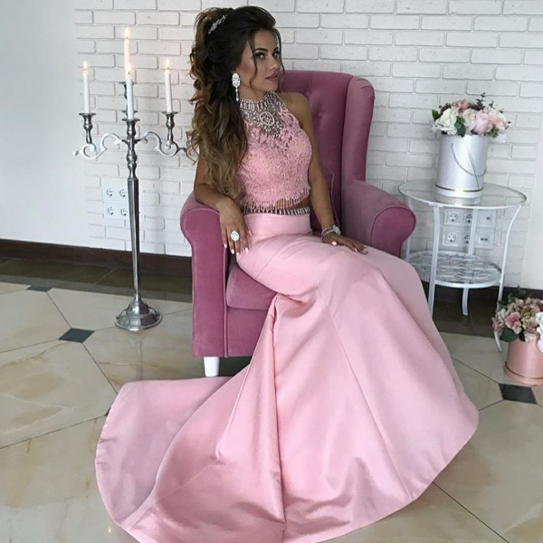 Two-Piece Mermaid Prom Dress with Beads and Lace Top
