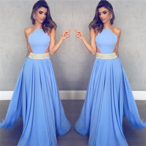 Sleeveless Sheer Back Sexy Formal Dresses Cheap 2018 Blue Crystals Beads Belt Evening Gowns