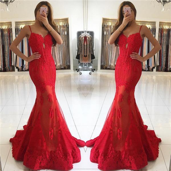 Spaghetti Straps Mermaid Red Prom Dresses Lace Appliques Sexy Evening Gowns