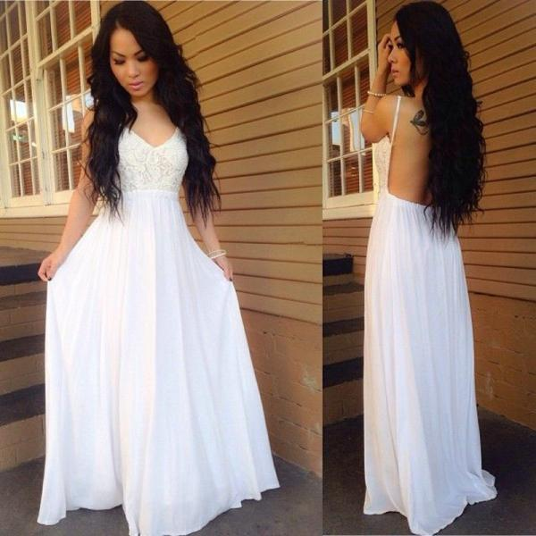 White Backless Prom Dress,Sexy Prom Dress, Ball Dress, Lace Spaghetti-Strap A-line Chiffon Newest Prom Dress