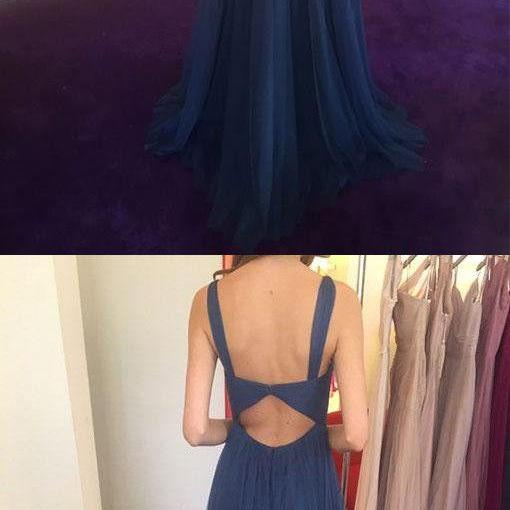 Simple Blue Prom Dress,V-Neck Tulle Prom Dress,Long Backless Evening Dress,2018 bridesmaid dress
