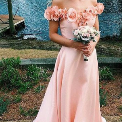 Pink Prom Dresses,Simple A-line Prom Dresses,Off Shoulder Prom Dresses,Cheap Prom Gowns,Elegant Prom Dresses,Prom Dresses For Teens,Prom Dresses