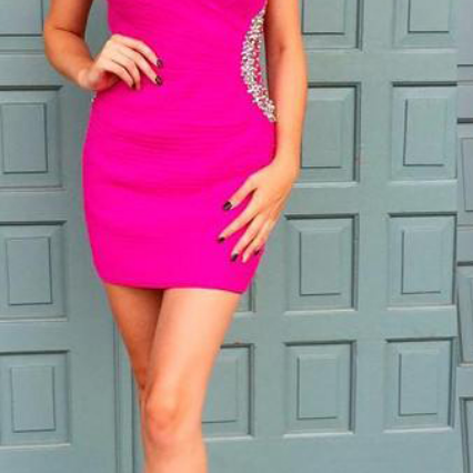 Fuchsia One Shoulder Beaded Satin Homecoming Dress Short Homecoming Dress