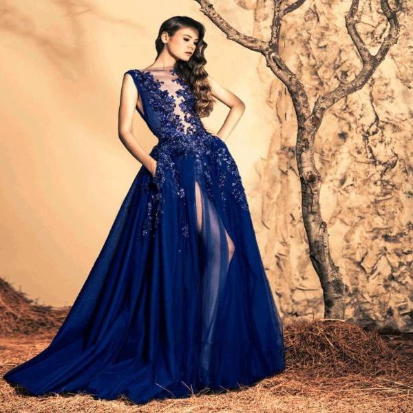 Sexy Deep V Neck Long Sleeves Mermaid Evening Dress with Over Skirt Navy Prom Dress