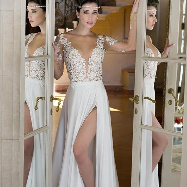 Sheer Long Sleeves Boho Bridal Wedding Dress with Slit