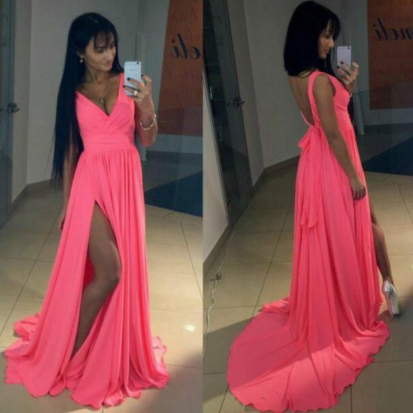 Sexy Deep Sexy Deep V Neck Prom Dress with Split