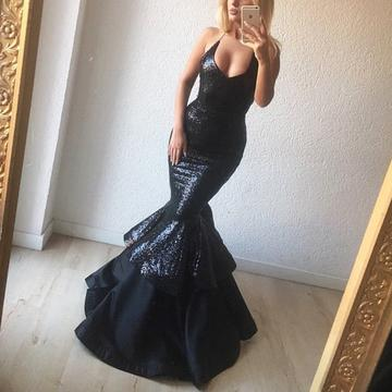 Elegant Sequins V Neck Ruffle Mermaid Evening Gowns Bodice Corset