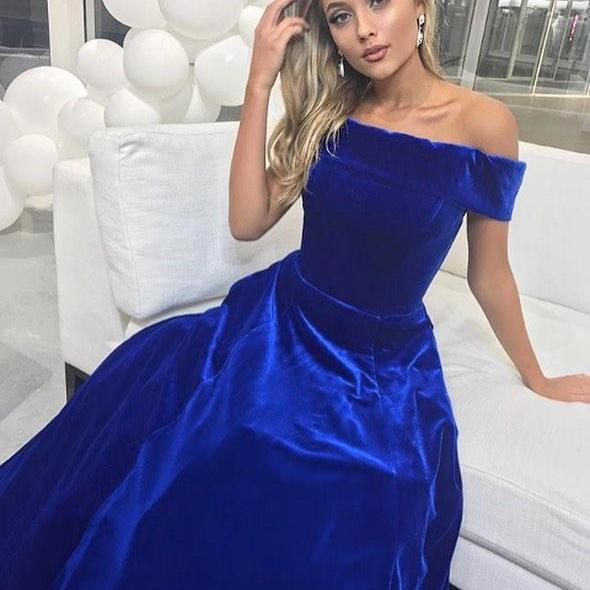 Royal Blue Sexy Off the Shoulder A Line Prom Dresses, Formal Evening Gowns