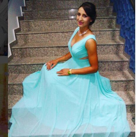 Deep V Neck Sexy Light Blue Evening Dress, Sleeveless Long Prom Dress