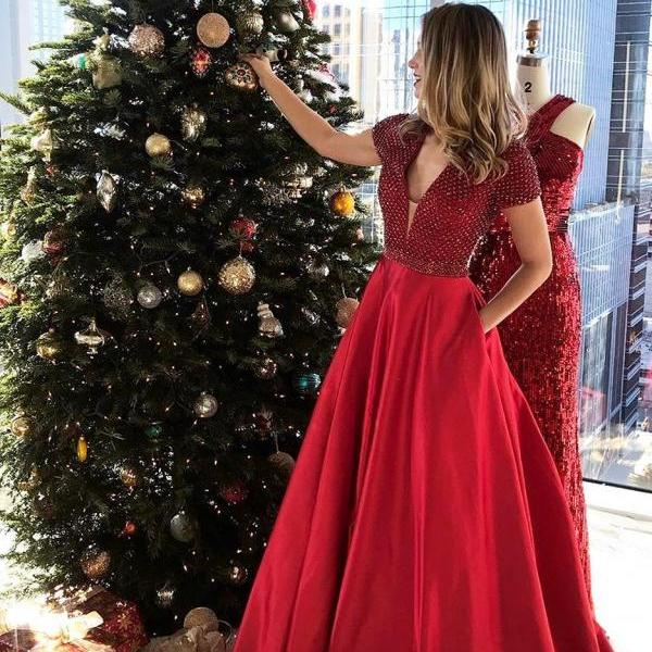 Red Long Prom Dress with Pockets Prom Dresses
