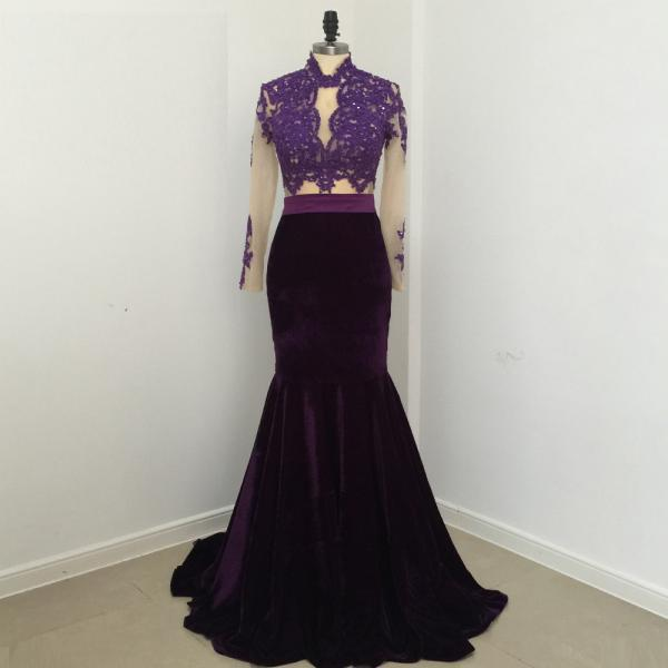 Elegant Sexy Mermaid Lace Velvet Evening Dresses 2018 Party High Neck Long Sleeve Sweep Train 2 Pieces African Purple Prom Dress